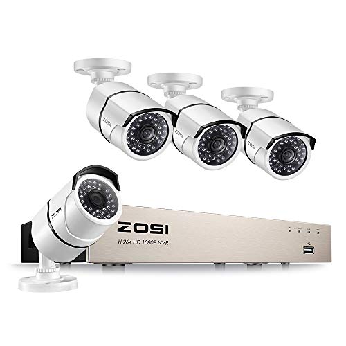 ZOSI 1080P PoE Außen Video Überwachungssystem 8CH HDMI NVR mit 4 Wetterfest 2MP IP Überwachungskamera Set, Metallgehäuse, 30M IR Nachtsicht