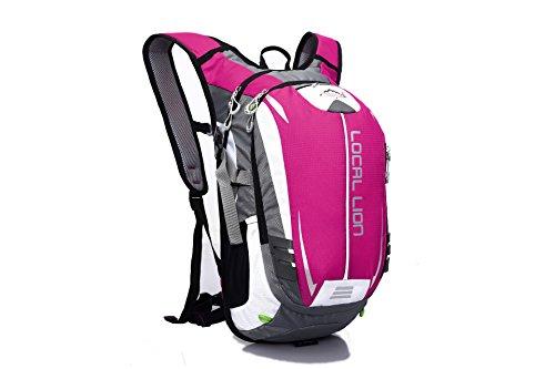 De nieuwe vaste kleur waterdichte rugzak schouder reistas eenvoudig fietstas man bergbeklimming, roze (roze) - 5315345516891