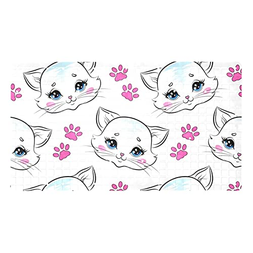 GORDESC Alfombrillas de baño originales (39,8 x 70,9 cm), diseño de gato con garra rosa con estampado de garra para adultos y niños, bañeras suaves y sin textura