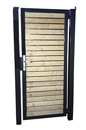Tuinhek houten poort poort Pforte oprijdeur met houten vulling dwars 105cm x 160cm (B x H) / frame antraciet RAL 7016