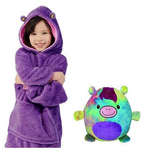 Dziecięca pluszowa bluza z kapturem, dla dzieci, składana, zamieniająca się w kaptur, 2 w 1, bluza i poduszka dla zwierząt, słodka, ciepła, wygodna, pluszowa narzuta na sofę