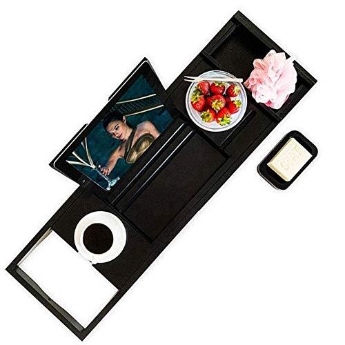 WCYDRUM Bath Tray, Bamboo Bath Caddy | Bath Board | Book Rest, Wine Glass Holder for iPad, Tablet Holder, iPad holder, Phone Holder Bath Tray Shelf Bathtub Caddy, Accessories Soap Dish