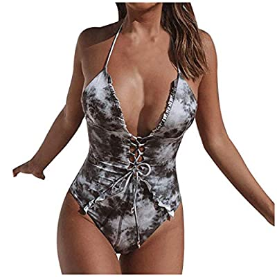 AmyDong Women's Swimwear?Women Piece Swimsuit Jumpsuit Push-Up Beach Bikini One Piece Swimwear Navy