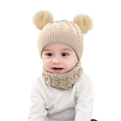 Borlai - Juego de gorro de punto para bebé y braga para el cuello, para invierno, cálido, de 1 a 6 años