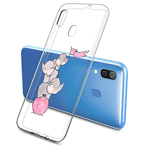 Suhctup Funda Silicona Transparente Ultrafina Suave Compatible con Samsung Galaxy A3 2016,Creativo Flexible Antigolpes Cover de TPU con Adorable Dibujo Animado Patrón(Elefante y Conejo)