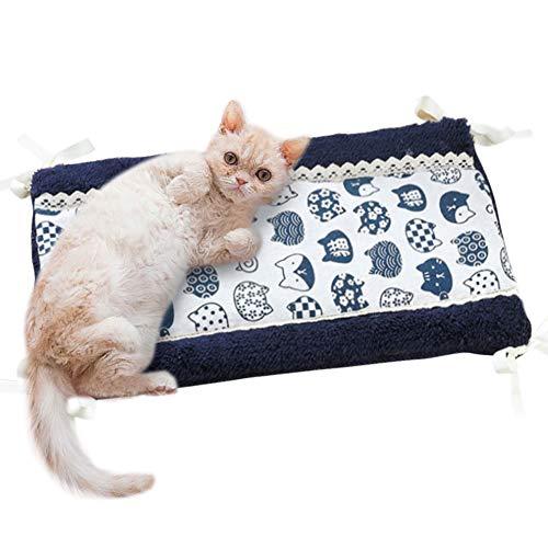 Umora 睡眠マット ペットクッション 冬 犬猫用 ケージに組み合わせ 両面 柔らかい 両面が使える ストラップ?レースデザイン 厚い コットン 28*45CM(B紺色猫)