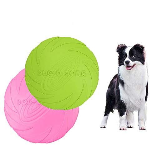 MQIAN Perros interactivos Frisbee,Frisbee Juguete de Perro,Juguete de Perro de Goma Frisbee,para Adiestramiento de Perros Juguetes de Tiro, Captura y Juego 2 Piezas