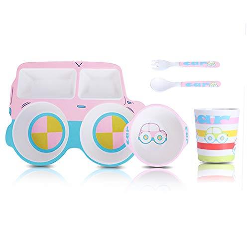 Vajilla infantil, juego de cinco piezas, vajilla infantil ecológica de bambú para bebés, adecuada para bebés mayores de 6 meses, platos, cuencos, tazas, cucharas y tenedores aptos para lavavajillas