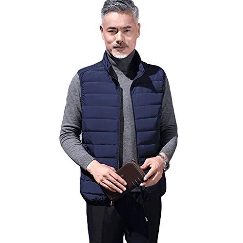 Chaleco de invierno Chaleco de camisón de abajo para hombre, chaqueta sin mangas, chaqueta sin mangas, pato blanco, chaleco de cáscara suave ocasional para desgaste interno / externo chaleco cálido