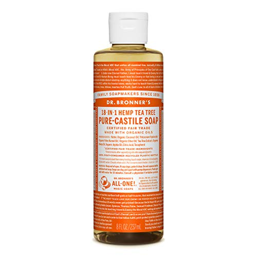 Dr. Bronner's - Pure-Castile Liquid Soap (Tea Tree, 8 ounce) - Made with Organic Oils, 18-in-1 Uses: Acne-Prone Skin, Dandruff, Laundry, Pets and Dishes, Concentrated, Vegan, Non-GMO