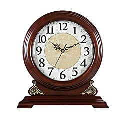 FCZH Mantle/Mantel Clock, Battery Operated, Silent Wood Table Clock with Westminster Chimes On The Hour Chiming, 8.7 Large Dial Shelf Decorative Clock,13.6 x 12.6 x 4.7