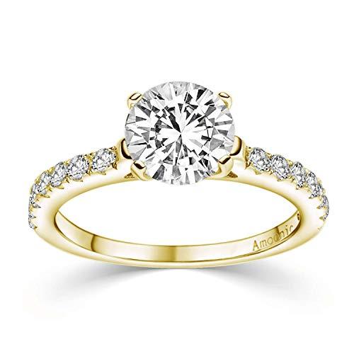 Verlobungsring Gold Damen mit Stein (15 Zirkonia Steine) mit Etui Gravur Ich liebe Dich (Silber 925 hochwertig vergoldet) Antragsring Heiratsantrag Ring Verlobung Frau Gelbgold wie Diamant