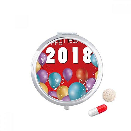 DIYthinker 2018 Ballon Jaar van de hond Gelukkig Nieuwjaar Travel Pocket Pill Case Medicine Drug Opbergdoos Dispenser Spiegel Gift