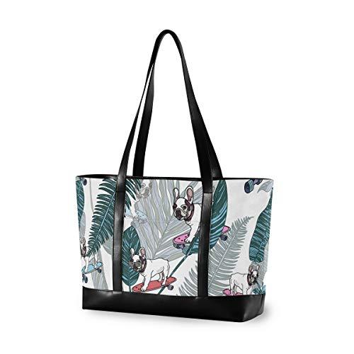 Tote Fits 15.6 Zoll Laptop Damen Handtasche Canvas Leder Leichte Umhängetasche French Bulldog Skateboard Tropical Leaves