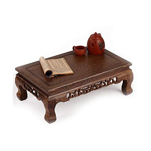 Beistelltische Wenge Massivholz Balkontisch Antike Mahagoni Geschnitzte Niedrige Tisch Tatami Erker Fenstertisch Couchtisch (Color : Brown, Size : 56 * 36 * 20cm)