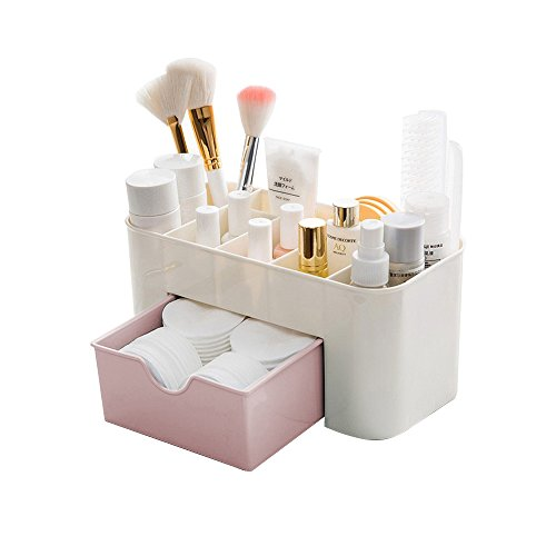 Desktop Makeup Organizer Schubladen,BAFFECT Kosmetik Aufbewahrungsbox Abteilung Büro Schreibtisch Organizer Desktop Schreibwaren Aufbewahrungsbox Makeup Organizer für Schlafzimmer Badezimmer (Pink)