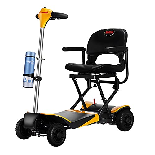 ACwhisper Plegable 4 Ruedas Scooter Eléctrico Para Personas Mayores Minusvalido Silla de Ruedas eléctrica para discapacitados Patinete eléctrico Ligero Portátil Scooter movilidad para Viaje aire libre