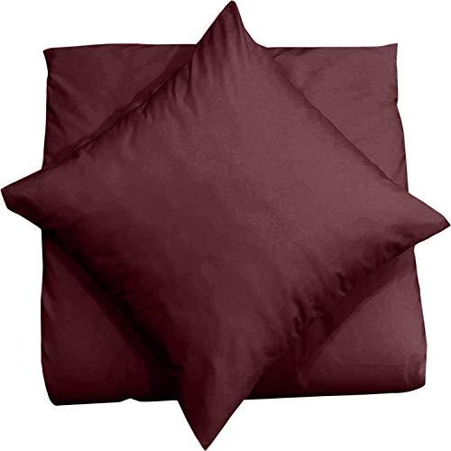 Kissenbezug Mako Satin 80x80 2er Set Kissenhülle Kissen Bezug 100{6b87c4c45beee6031f5eb77d61246e5eb1e4f31d33c56cf5a1c0a25d6047488d} Baumwolle, Farbe:Braun