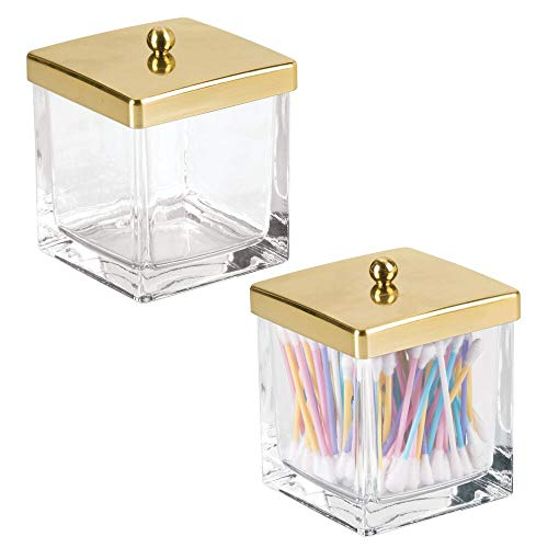 mDesign Modern Glass Square Bathroom Vanity Countertop Storage Organizer Canister Jar for Cotton Swabs, Rounds, Balls, Makeup Sponges, Bath Salts - 2 Pack - Clear/Soft Brass