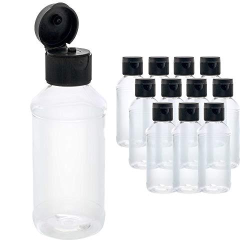 U.S. Art Supply - Confezione da 12 bottiglie in plastica PET con tappo a scatto, senza BPA, per uso alimentare, in plastica di grado medico, in plastica acrilica