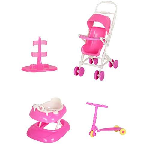Sanfiyya La muñeca de Juguete Juego de casa de muñecas Accesorios con el Cochecito de bebé Walker Vespa muñeca Soporte para la muñeca Toy Dolls