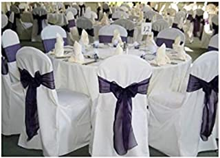 SPRINGROSE 100 White Polyester Standard Round Top Banquet Wedding Chair Covers.