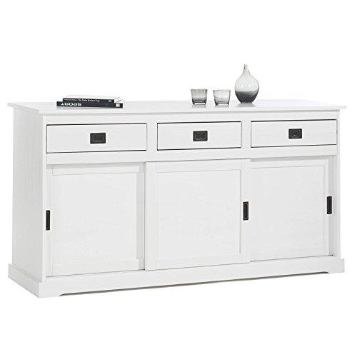 IDIMEX Buffet Savona bahut vaisselier Commode avec 3 tiroirs et 3 Portes coulissantes, en pin Massif lasuré Blanc