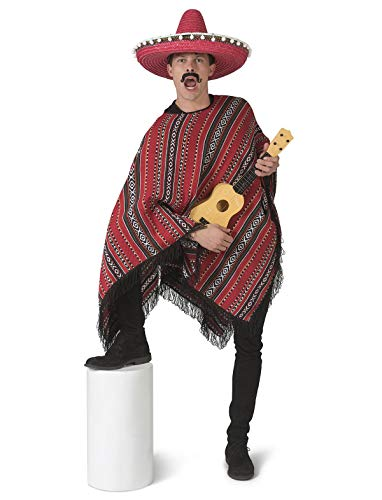 TrendClub100® Mexikaner Kostüm Poncho für Erwachsene - Jose Lopez - Universal