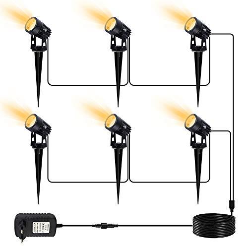 LED Gartenbeleuchtung, CHINLY LED Gartenleuchten 25 m 12V Strahler IP65 Wasserdichte Hausbäume Gartensträucher im Freien (warmweiß, 6er-Pack)[Energieklasse A+++]