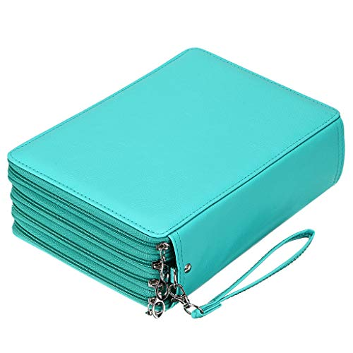 BTSKY 200 Slots Colored Pencil Organizer - Deluxe PU Leather Pencil Case Holder With Removal Handle Strap Pencil Box Large for Colored Pencils Watercolor Pencils (Green)