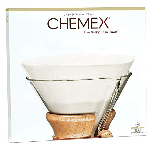 Chemex Coffee Filters with 100 Chemex Bonded Unfolded 12 Inch Filter Paper Circles