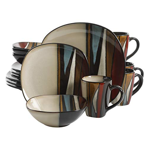 Gibson Elite Althea 16 Piece Reactive Glaze Dinnerware, Multicolor - 92913.16RM