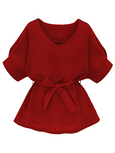 Milumia Women's Casual V Neckline Self Tie Short Sleeve Petite Plus Size Work Business Blouse Tunic Tops Red Small