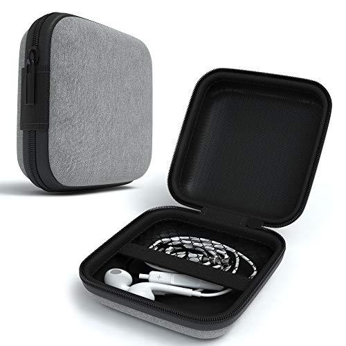 EAZY CASE Universal Tasche für In-Ear Kopfhörer mit Netzfach - Hardcase Aufbewahrungsbox, Schutztasche mit umlaufenden Reißverschluss, extra klein, eckig, Hellgrau