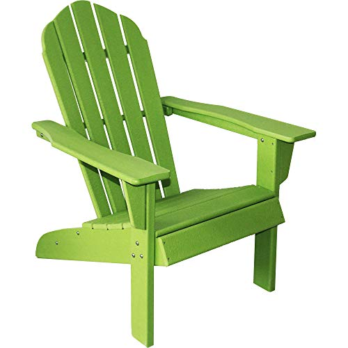 ResinTEAK HDPE Poly Lumber Adirondack Chair, Apple Green | Adult-Size, Weather Resistant for Patio Deck Garden, Backyard & Lawn Furniture | Easy Maintenance & Classic Adirondack Chair Design