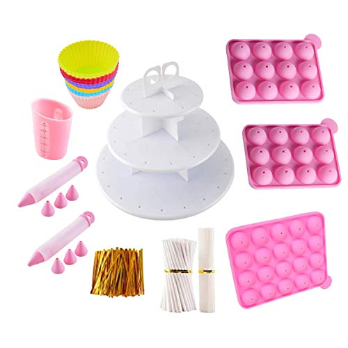 Cake Pop Maker Kit with 3 Silicone Cake Pop Mold, 3 Tier Cake Stand, Cupcake Pop, Cake Pop Sticks, Decorating Pens, Twist Ties and Bags – Cake Pop Kit for Making Lollipops, Muffins & Chocolate
