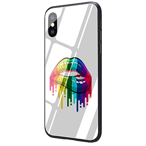 Lesbian LGBT Rainbow Pride Art Tempered Glass Phone Case Cover for iPhone X Xs Max XR 8 7 6 6S Plus (G4,for iPhone 7plus 8plus)