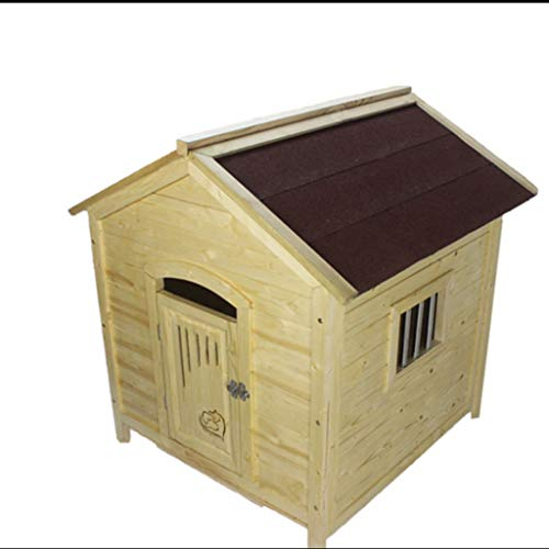 Perrera para Perros Gatos Lluvia al aire libre Casa de perro Casa de madera maciza Para mascotas Villa Invierno Cálido Verano Fresco Mascota Nido...