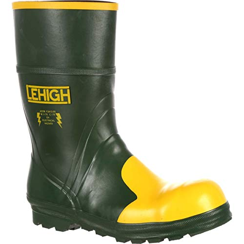 Lehigh Safety Shoes Unisex Steel Toe Rubber Hydroshock Waterproof Dielectric Work Boot Size 14(0)