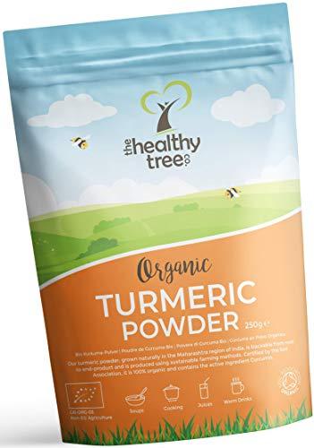 Cúrcuma en Polvo Orgánico de TheHealthyTree Company - Vegano, Excelente en Sopas, Zumos, Curry y Platos Vegetarianos - Raíz de Curcumina de Cúrcuma Pura (250 g)
