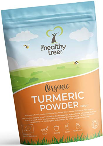Organic Turmeric Powder by TheHealthyTree Company - Great in Soups, Juices, Curry and Vegetarian Dishes - Pure Vegan Turmeric Curcumin Root (250g)