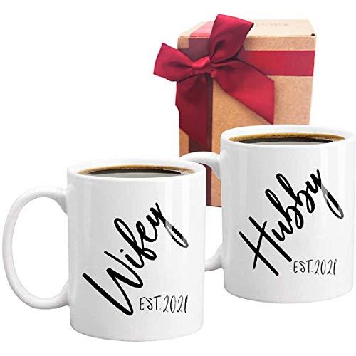 Gift for Husband and Wife Coffee Mug, 2021 Hubby Wifey Mug Wedding Gift, Mr and Mrs, Bridal Shower Gift, Unique Wedding Gift for Couple, Set of 2 Shot Mugs