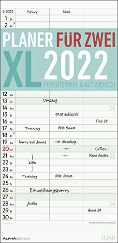 Planer für 2 XL 2022 mit 3 Spalten - Familien-Timer 22x45 cm - Offset-Papier - mit Ferienterminen - Wand-Planer - Familienkalender - Alpha Edition