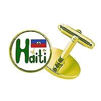 ハイチ島国旗の赤と青のパターン スタッズビジネスシャツメタルカフリンクスゴールド