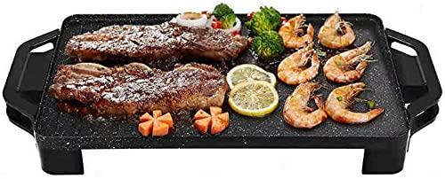 Multifunc Hot Pot / Pan barbacoa, Teppanyaki Grill eléctrico grande de sobremesa hacer pan placa antiadherente de la placa caliente 220V 1800W sin humo de la parrilla de la barbacoa cubierta portátil,