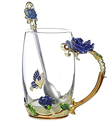 Tea Mug,Coffee Spoons,Glass Tea Cups,Coffee Cups Glass,Glass Mugs with Handles,Tea Lovers Gifts for Women,Butterfly Gifts for Women,Tea Sets for Women, Gift Ideas for Women. (High Blue Rose Tea Cup)
