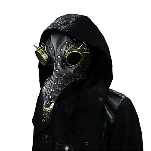 steel master Steampunk Doctors Mask PU Leather Long Nose Mask Cosplay Black Beak Mask Costume Props