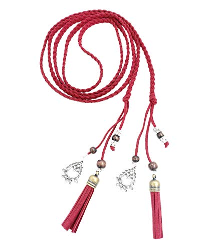 Exotic Women Waist Belt/Rope/Chain with Tassel and Beads in 8 Colors (red)