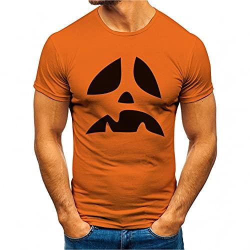 QINGXIA_ZI Estampado de Smiley Manga Corta de Verano para Hombre Camiseta con Cuello Redondo Polos Originales Camisetas Casual Elegante Top de BáSica Camiseta para Fiesta de Halloween