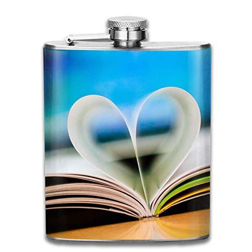 Flachmann, Flachmann aus Edelstahl 3D Love Heart Book Wallpaper Fashion Portable 304 Edelstahl Leak-Proof Alcohol Whiskey Liquor Wine 7OZ Pot Hip Flask Travel Camping Flagon for Man